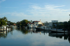 Morning in Naples. Morning view of  Naples, Florida waterway moorings and houses Stock Images