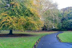 Morning natural scene with bridge, lake, trees at St Stephen\'s Green