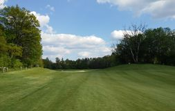 Morning at nature. At golfcourse on fairway. Blue sky and clouds royalty free stock photography