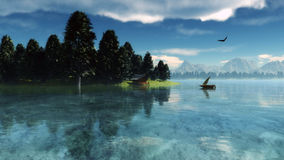 Morning nature scene. (landscape): sky, clouds and lonely boat reflected on the water surface. 3D Illustration Royalty Free Stock Photo