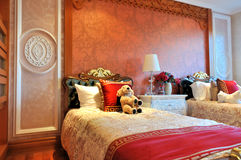 Morning of neat children's bedroom. With elaborate decoration and fine furniture, shown as luxury, classical, and comfortable living environment Stock Image