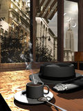 Morning news. Inside a coffee bar behind the windows, by the fifties. A cup of hot coffee, the morning newspaper and the hat of a man on a table vector illustration
