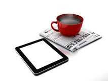 Morning news. Coffee cup with newspaper and tablet pc on white i Stock Image