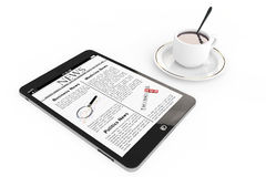 Morning news concept. Modern Tablet pc and cup of coffee Stock Photography