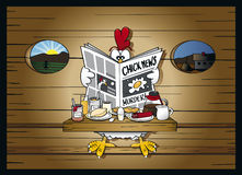 Morning news at the henhouse. Chicken is reading the newspaper at the breakfast table vector illustration