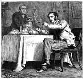 Morning news from the newspaper at breakfast. Kiev, Ukraine - March 24, 2018: ILLUSTRATIVE EDITORIAL The reproduction of antique engraving that shows two men who vector illustration