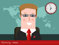 Morning news. Silhouette of a man with glasses. News announcer in the studio. Royalty Free Stock Images