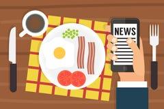 Morning news. Smartphone addiction. Flat design Stock Photo