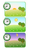 Morning, noon and night. Clock shows time of day. Forest Glade. The sun is shining. Moon and stars. Vector. Illustrations of nature at different times of day Stock Photography