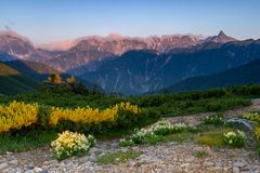 Morning in the Northern Alps royalty free stock photography