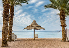 Morning at northern beach of Eilat Royalty Free Stock Photos