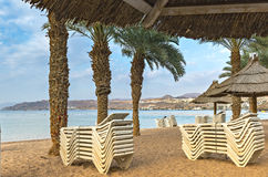 Morning at northern beach of Eilat Royalty Free Stock Photo