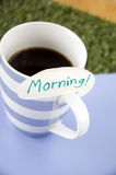 Morning note on coffee cup Stock Image