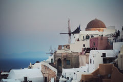 Morning Oia Town and Mediterranean Sea Royalty Free Stock Photo