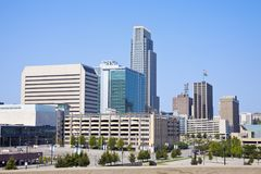 Morning in Omaha. Skyline of the city. Omaha, Nebraska, USA royalty free stock images