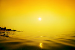 Morning orange sea. Stock Photo