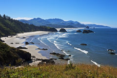 Morning on the Oregon coast. Morning panorama at Ecola State Park looking south toward Cannon Beach, Oregon Royalty Free Stock Image