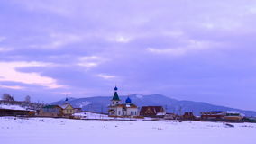 Morning at the Orthodox Church in a village at Lake Baikal. Russia stock video