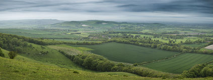Morning over rolling English countryside panorama landscape in S Stock Photos