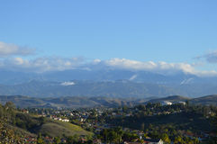 Morning Over San Gabriel Mountains and Valley. San Gabriel Valley and Snow Capped Mountains Stock Images