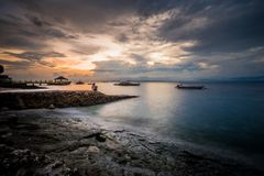 Morning at Panagsama Beach in Moalboal, Philippines. Moalboal is a small town on the South-West side of Cebu island, Philippines Stock Photography