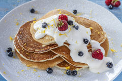 Morning pancakes with berries Stock Photos