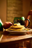 Morning pancakes with tea Stock Photography