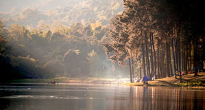 Morning in Pang Ung Lake,North of Thailand, is a tourist place Royalty Free Stock Photo