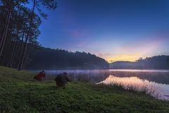 Sunrise in Pang Ung Maehongson Thailand. Morning in Pang Ung Lake,North of Thailand, is a tourist place where people come to vacation in the winter stock photos