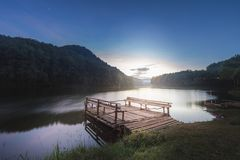 Sunrise in Pang Ung Maehongson Thailand. Morning in Pang Ung Lake,North of Thailand, is a tourist place where people come to vacation in the winter royalty free stock photography