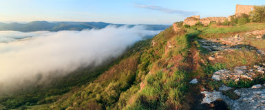 Morning panorama cloudy view from Mangup Kale top Royalty Free Stock Images