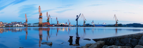 Morning panorama of Industrial seaport Stock Photos