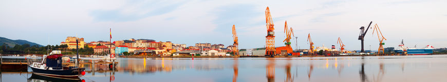 Morning panorama of Industrial seaport of   Santander Royalty Free Stock Photo