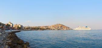 Morning panorama of Kusadasi Turkey. Travel background Royalty Free Stock Photos