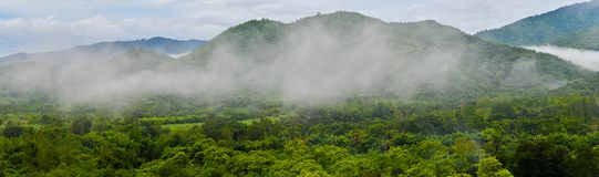 On the morning panorama mountain image of tropical forest. At Suan Phueng District Ratchaburi Province Thailand royalty free stock photography