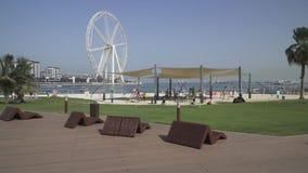 Morning panorama of a snow-white beach in the prestigious area of Dubai Marina royalty free stock photos
