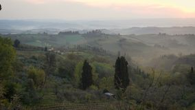 Morning panorama of Toscana. Misty morning panorama from the San Gimignano walls, Toscana, Italy stock video