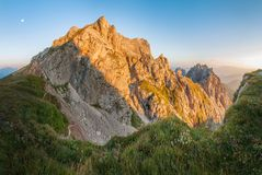 Morning Panoramic Landscape of Alpine Mountains royalty free stock image