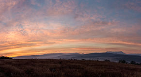 Morning panoramic landscape. With field, sky and clouds Royalty Free Stock Images