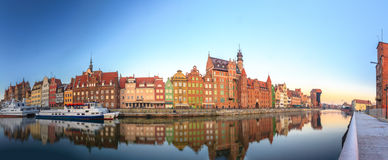 Morning panoramic scenery of Gdansk old town in Poland Royalty Free Stock Images