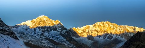 Morning Panoramic view of Mount Annapurna. View from Annapurna base camp Nepal stock photography