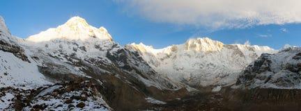 Morning panoramic view from mount Annapurna range Stock Photo