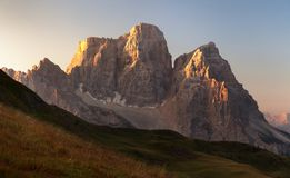 Morning panoramic view of Mount Pelmo, Italian dolomites Royalty Free Stock Image