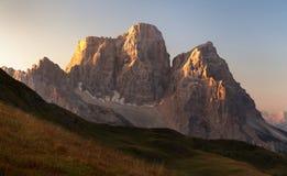 Morning panoramic view of Mount Pelmo, Italian dolomites Royalty Free Stock Image