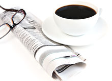 Morning paper with coffee Stock Photos