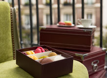 Morning in Paris appartment with dessert and coffee Royalty Free Stock Photography