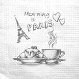 Morning in Paris. Sketch hand drawn image eiffel tower, cup of tea coffee and croissant. Message on a paper napkin. royalty free illustration