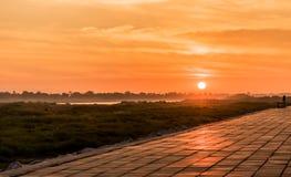 Morning at a park near the Khong river in Bueng Kan district, Th Stock Photo