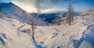 Morning pass. Winter view of the mountain pass from the frosted trees at sunrise Royalty Free Stock Photography
