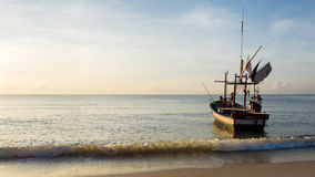 Morning Peace. The Fishing Boat on the Beach. Royalty Free Stock Images